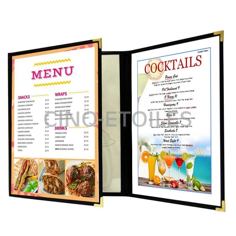 Couverture de menu 3 volets en continu 8x11