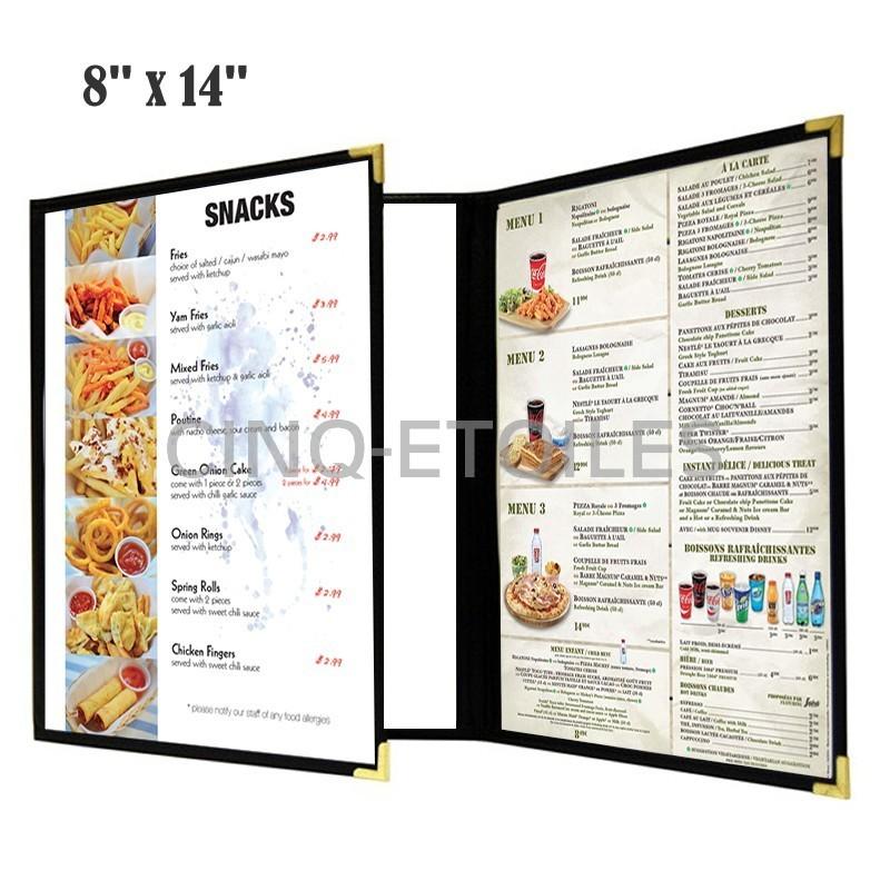 Couverture de menu 3 volets en continu 8 x 14