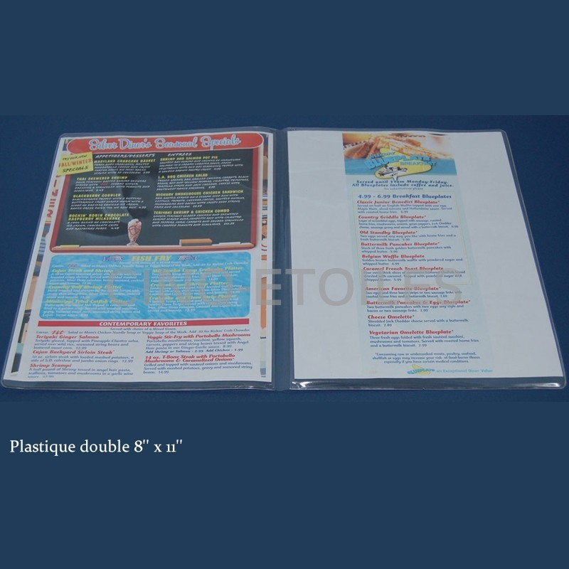 Menu double en plastique 8x11