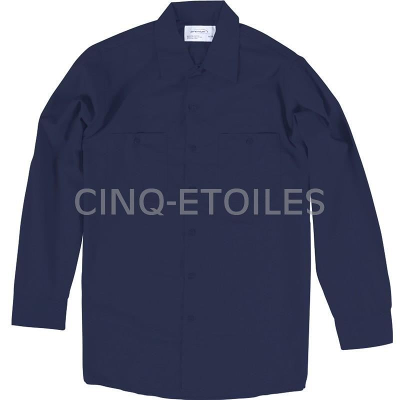 Chemise de travail poly/coton manches longues bleu marin