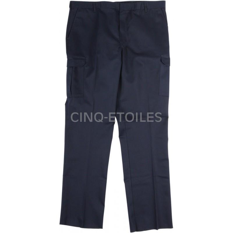 Pantalon de travail poches cargo velcro bleu marin