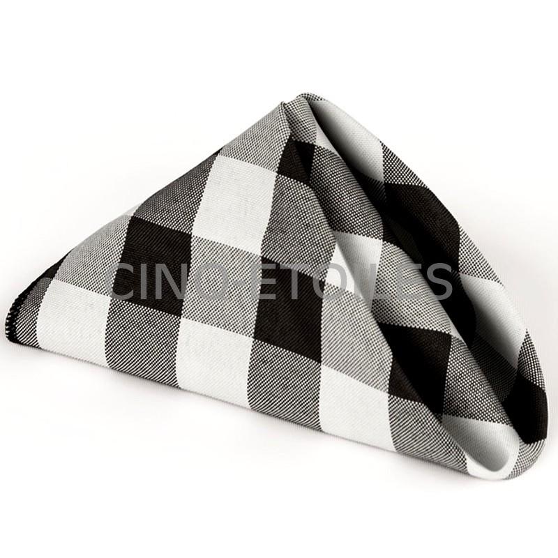 serviettes de table à carreaux noir