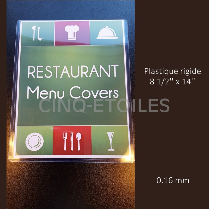 Menu plastique rigide 8 1/2 x 14''