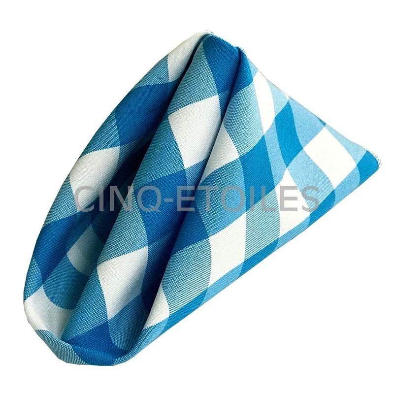 serviettes de table à carreaux bleu