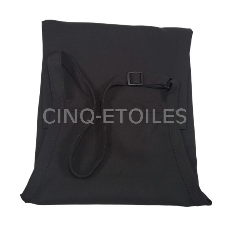 Tablier casse-croûte noir avec bavette