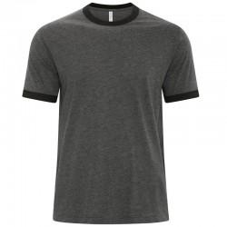 T-Shirt Ringer gris chiné et noir