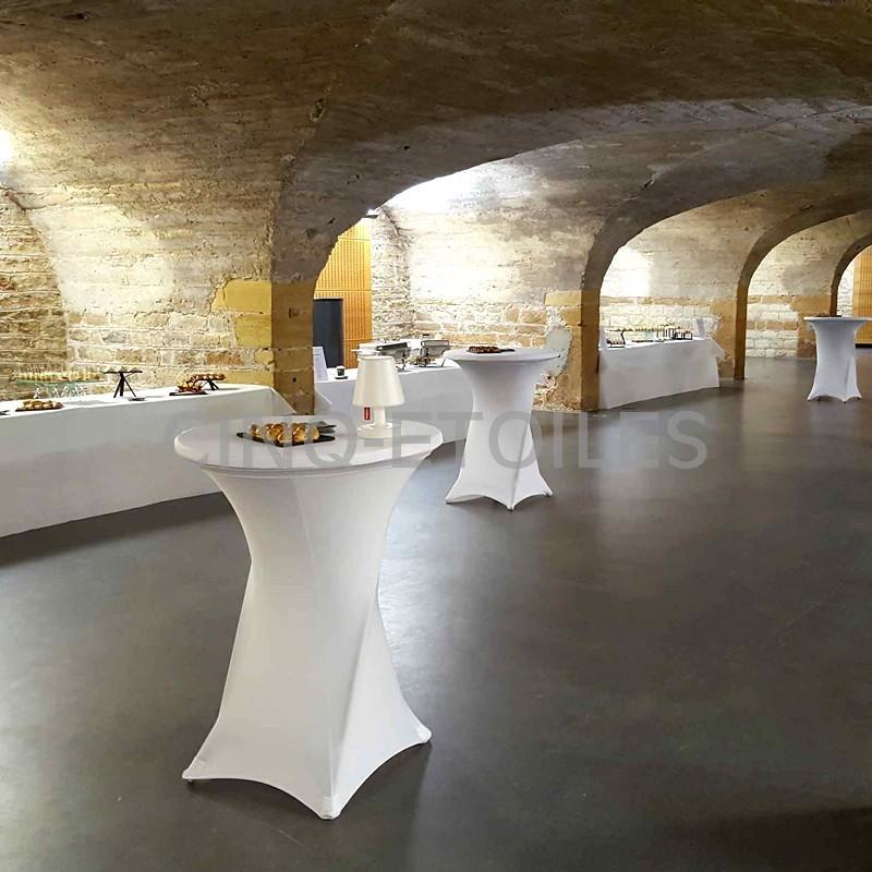 Housse contour blanche table cocktail de 36''