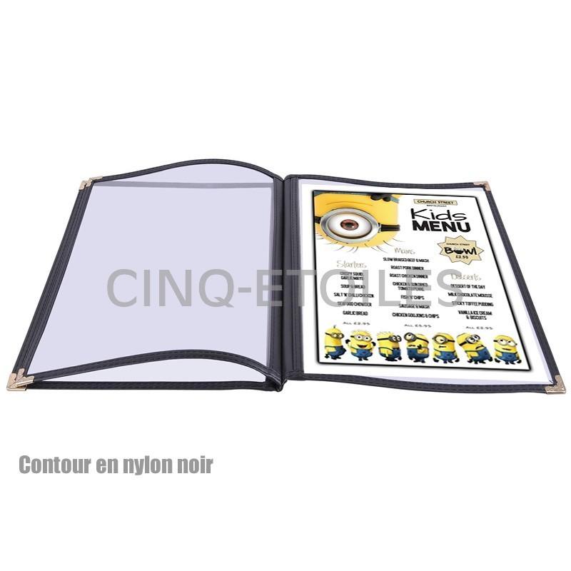 Couvert Menu contour Nylon 3 volets 8.5 x 11