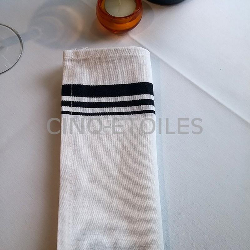 Serviette table bistro en coton ligne noire