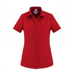 Chemise Femme London Manches courtes rouge