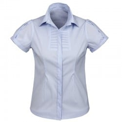 Chemise Femme Berlin manches courtes bleue rayée