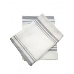 1 DZ Linge Cuisine blanc Lignes grises 21 x 32