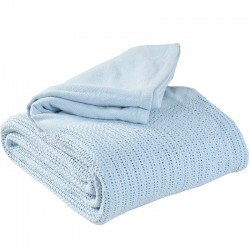 Couverture Thermale Bleue 100% coton lit simple