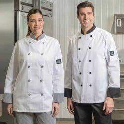 Veste chef cuisinier Franquette blanc noir unisexe
