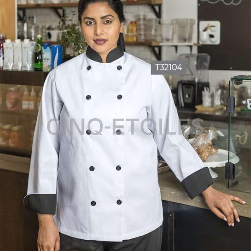 Veste Chef Blanche et noire 100% polyester unisexe